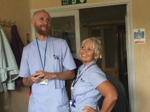 Hospice staff in action Chris and Kath.....